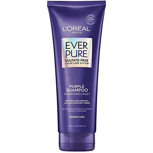L'Oreal Paris EverPure Sulfate Free Brass Toning Purple Shampoo for Blonde, Bleached, Silver, or Brown Highlighted Hair, 11 Fl; Oz (Packaging May Vary)