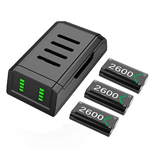 Controller Akku for Xbox One Series X S, 3 x 2600mAh Xbox Akku Packs Ladeatation Wiederaufladbarer Batterien Ladegeräte Kompatibel Mit Xbox One/One S/One X/Elite/Series X/Series S Original Controller