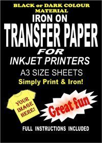 Inkjet Printable Iron On T Shirt & Fabric Transfer Paper For Dark Fabrics 10 A3 Sheets
