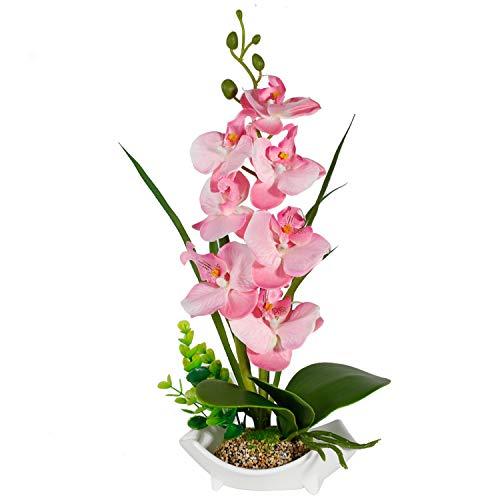 RENATUHOM Künstliche Orchidee Blume Zimmerpflanzen Orchidee Blumen mit Porzellan Vase Töpfen rosa Orchidee künstliche Pflanzen gefälschte Seide Blume Bonsai Dekoration Esstisch Badezimmer Ornament