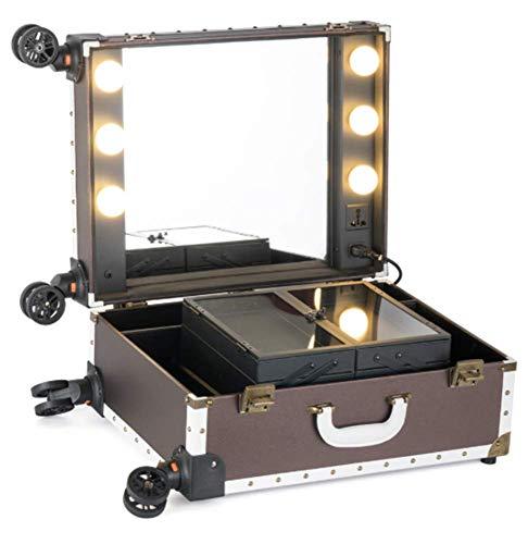 Beauty tools Maletín De Maquillaje 4 Ruedas Desmontables Ajustable con Luz Led...
