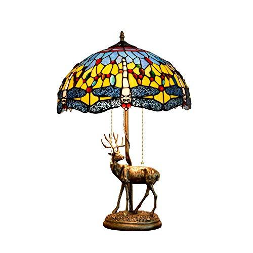 Diseño Personalizado 16 pulgadas de América habitaciones Estilo Elk base creativa de la libélula del vitral de Tiffany de estar Restaurante Bar dormitorio estilo Tiffany cubierta de noche lámpara de m