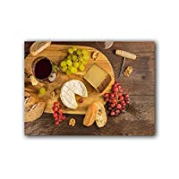 チーズのパンとブドウのワインの試飲静物キャンバス絵画プリントとポスターの壁のアートキッチンルームのダイニングルームの装飾 (Color : E, Size : 50x70cm No Frame)