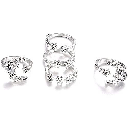 chaosong shop Juego de 5 anillos para nudillos con diamantes de imitación de estrella y luna, para mujeres y niñas, juego de joyas delicadas