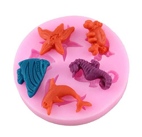 Siliconen mal - voedselgebruik - van 5 zeedieren - zeester - krab - zeepaardje - sardine - suikerpasta - fondants - cakes - pannenkoeken