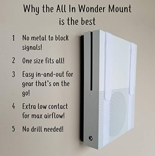 The All-in Wonder Mount by Mount Genie (5-Pack): The Easiest Wall Mount for All Components Routers Modems Xbox Playstation DVRs   One Size Fits All   Designed for Home and Business (Black)