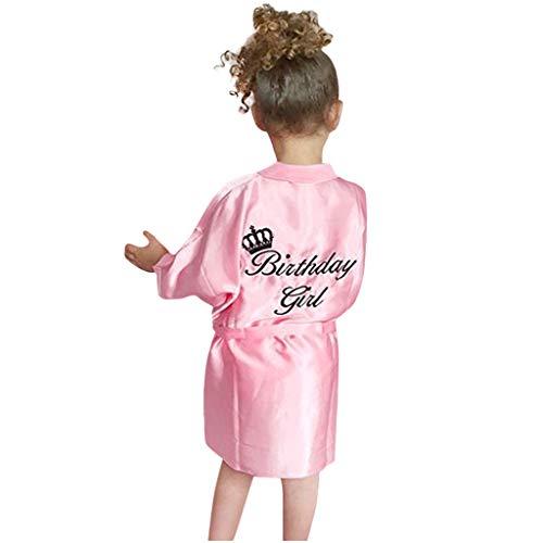 Kimono de satén con estampado de letras para niños y niñas, con estampado de corona, bata de baño, bata de baño, para spa, boda, fiesta de cumpleaños, color rosa