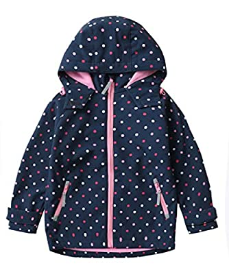 M2C Girls' Waterproof Softshell Hoodie Jackets 3T Navy Polka Dots