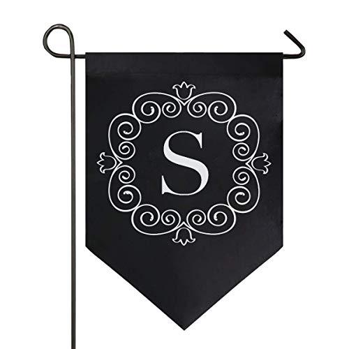 jenny-shop Klassische Monogramm S Brief kleine Gartenflagge doppelseitig 12,5 x 18 Zoll