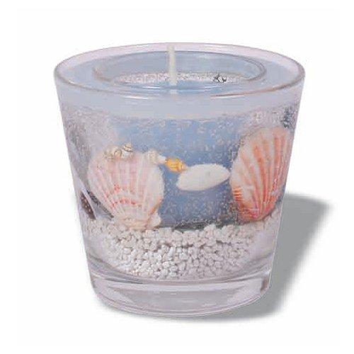 Duftkerze im Glas mit Muscheln blau, H 90 mm