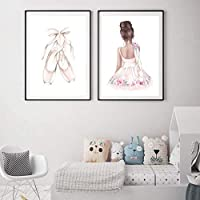 ピンクバレエ少女ダンスシューズキャンバス絵画保育園壁アートポスタープリントスカンジナビア装飾画像キッズガールズルーム40x60cmx2なしフレーム