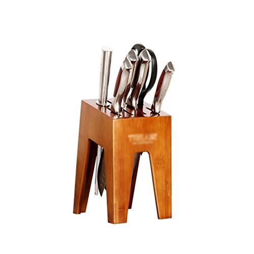 YAOLUU Bloque Universal para Cuchillos Bloque de Cuchillos de bambú Sin Cuchillos, Cuchillo de Cocina de Almacenamiento de Titular Organizador con Tijeras Slot Organizador de Cuchillos (Color : A)