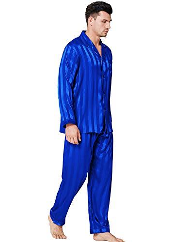 Herren Seide Schlafanzug Pyjama Homewear Streifen Blau X-Large
