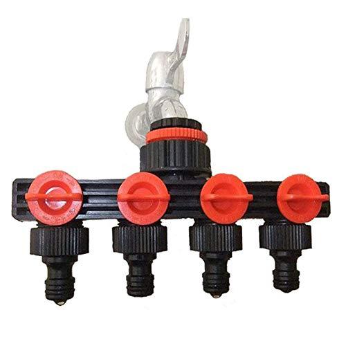 JPZCDK Conectores de Manguera de Agua de 4 vías divisores de Manguera Adaptador de riego Herramientas y Equipos de Conector de tubería de Goteo de jardín