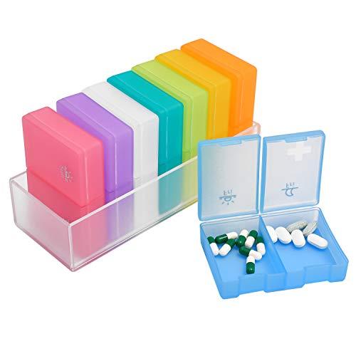 Tablettenbox Große Fächer SKYIOL Medikamentenbox 7 Tage je 2 Fächer (Morgens, Abends) Pillendosen BPA-Freie Medikamente Behälter Wochendosierer Helferlein für unterwegs oder Zuhause, 8 Stücke, Bunt