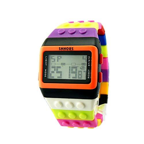 Fliyeong Unisex-Armbanduhr mit buntem Regenbogen-Armband, digital, für Damen, Herren, Kinder, kreativ und nützlich