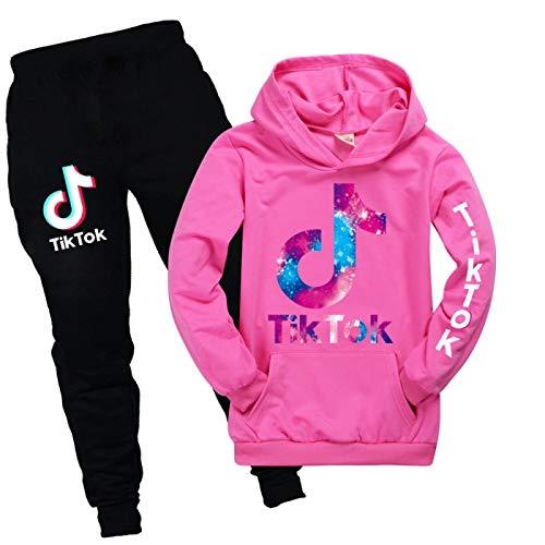 JIAOJIA Tik Tok Hoodie Unisex Kinderbekleidung Jungen und Mädchen Pullover Anzug Hoody + Hose Mädchen Tik Tok Hoodies Hosen Set Cool 130cm