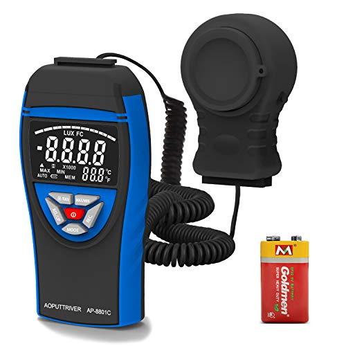AP-8801C Medidor Iluminación Digital 0.1~400,000Lux Fotómetro Digital Luxómetro Luxmeter con Detector de Luz Extensible hasta 2 Metros, Retención de Datos, Selección de Lux/FC