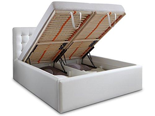 Luxus Polsterbett mit Bettkasten Selly mit Zirkonia Steinen XXL Kunslederbett Doppelbett Ehebett Weiß (180x200cm) - 5
