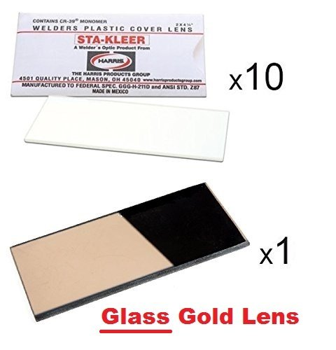 10 Clear Hood Lens Cover 2' x 4.25' and 1 GLASS GOLD Shade 12 Welding Hood Lens Helmet Filter 2 x 4-1/4 Replacement