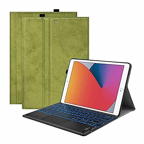 iPad Pro10.5/Air3/10.2 タッチパッドキーボード Bluetooth キーボード バックライト ワイヤレスキーボード TPUケース ペンシル収納付き ブルートゥース Bluetooth キーボード スタンド カバー (グリーン)