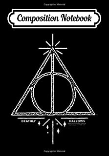 Composition Notebook: Harry Potter Deathly Hallows Line Art, Journal 6 x 9, 100 Page Blank Lined Paperback Journal/Notebook