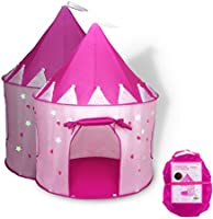 FoxPrint Princess Castle Play Tent with Glow in The Dark Stars, Conveniently Folds in to A Carrying Case, Your Kids Will...