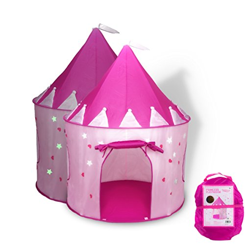 Image of the FoxPrint Princess Castle Play Tent with Glow in The Dark Stars, Conveniently Folds in to A Carrying Case, Your Kids Will Enjoy This Foldable Pop Up Pink Play Tent/House Toy for Indoor & Outdoor Use