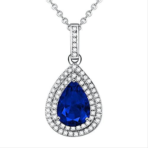 ZHUDJ Colgante de Collar de Plata esterlina S925 Turquesa Natural para Mujer, joyería Fina de Plata Esmeralda con Gota de AguaAzul