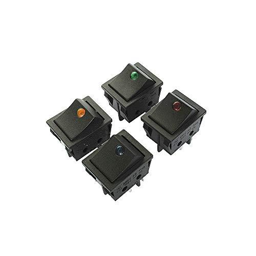 PHISCALE 照光型 赤 ロッカスイッチ オン-オフ ON-OFF DPST 4ピン125VAC/20A 250VAC/16A 長方形 31x25mm トレッドミル ウォーターポンプ に適用する(6個 入り)