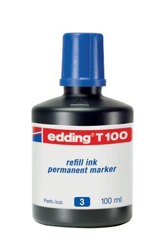 edding T100 Permanentmarker Nachfülltinte - Inhalt: 100ml - Farbe: blau - Tusche für edding Permanent Marker (auch edding EcoLine)