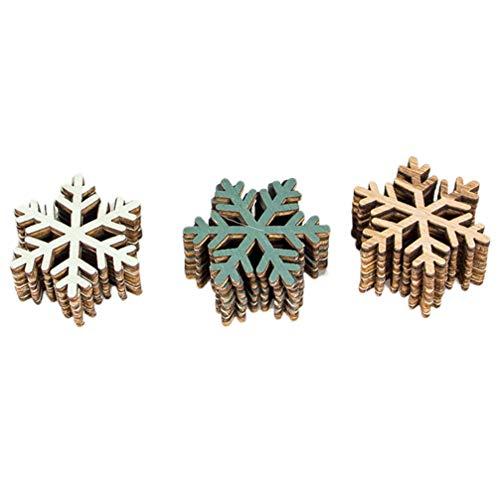 Amosfun 24 piezas de Navidad de madera con forma de copo de nieve colgantes para...