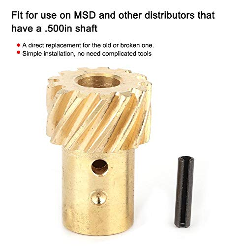 Distributor Gear, 350 0.500' Shaft Diameter Bronze Distributor Gear, Roller Cam Distributor Gear Replacement Accessories Fit for Chevy MSD 350 .500in Shaft SBC