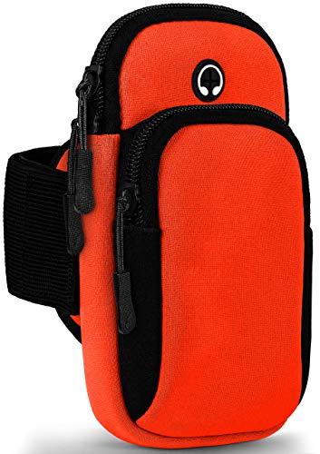 ONEFLOW Premium Sportarmband Handy Armband zum Joggen kompatibel mit Sony Xperia XZ2 Compact | Lauftasche Smartphone Armtasche weich, 2 Fächer - Sport Handyhalterung Arm, Schwarz