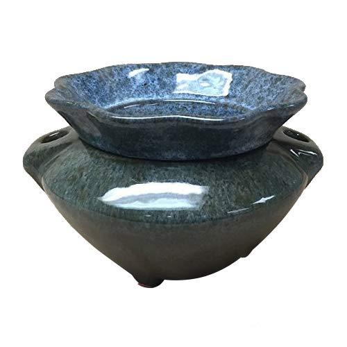 3.5' Granite Style (Grey/Brown) Ruffle Shaped Self Watering Ceramic Planter