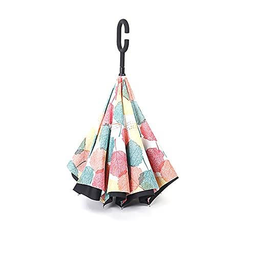 Paraguas invertido con mango en forma de C para la lluvia del coche, Paraguas resistente a los rayos UV, Paraguas de viaje de negocios para la lluvia, Paraguas recto a prueba de viento para hombres