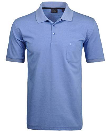 Ragman Herren Kurzarm Softknit Poloshirt , Blau , XXL