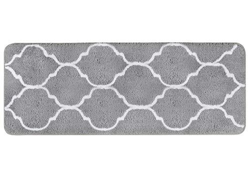 Homcomodar Tapis de Bain en Microfibre Tapis de Bain Doux et Absorbant de Salle de Bain Tapis de Bain antidérapant Lavable de Bain Douche Tapis pour Salle de Bain(Gris, 45x120cm)