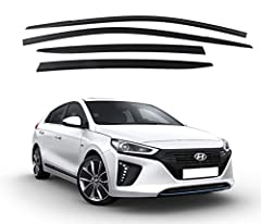 Contents : Smoke (Wind Shield) Window Sun Visor Vent 4ps (1set) Car Fitments : Hyundai IONIQ 2016~ for 4 Doors Protects Window from Rain / Snow Prevents Rain / Snow to enter and allows ventilation Optimizes the exterior look on your car