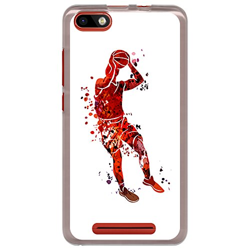 BJJ SHOP Transparente Hülle für [ Wiko Lenny 3 / Jerry ], Flexible Silikonhülle, Design: Basketball-Spieler-Aquarell