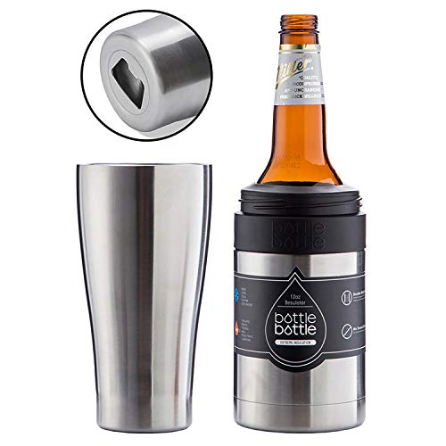 BOTTLE BOTTLE Beer Bottle Insulator - Beer Can Cooler Holder - Vacuum Insulated Thermos with Bottle Opener - Metal Stainless Steel Cans Keeper for Beer - Keep Beer Bottles Cold & Chill (Silver)