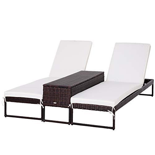 Outsunny 3pz Componibile 2 Lettini Prendisole (60 x 195 x 86cm) 1 Tavolino (121 x 40 x 50cm) Rattan con Materassini Marrone e Bianco Crema