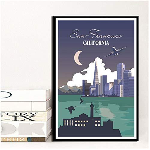 DNJKSA York Holanda Amsterdam Viajes Ciudades Paisaje Pintura Cartel Impresiones Lienzo Cuadro de Pared para decoración de habitación del hogar-50x75cm sin Marco