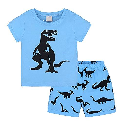 Pijamas de Manga Corta Dos Piezas para Niño, Fansu Dinosaurio Pijamas Infantil Bebé Verano Suave Cómoda Algodón Camisetas y Pantalones Conjunto de Pijamas (6-7 años,Dinosaurio Azul)