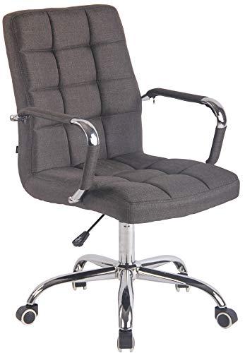 CLP Bürostuhl Deli mit Stoffbezug und hochwertiger Polsterung I Drehstuhl mit höhenverstellbarer Sitzhöhe, Farbe:dunkelgrau