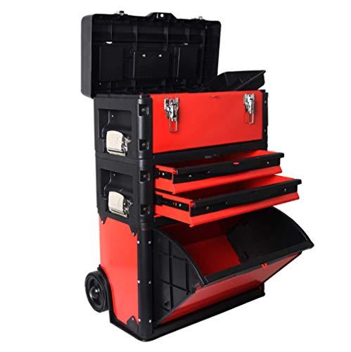 Trolley Toolbox Combinación de tres capas multifunción móvil con ruedas de hardware...