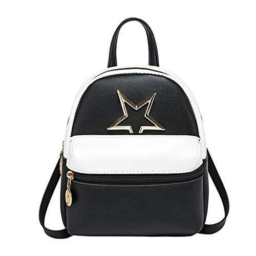 Leather Mini Backpack for Teenage Girl Red Small Backpack Purse Bag Simple Shoulder Bag-Black-17x9x19cm