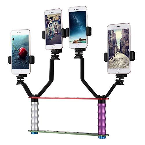 Luoshan Smartphone Live Broadcast Bracket Kits de montaje for selfies de mano doble con 2x V-Bracket + 3x clips for teléfono, for iPhone, Galaxy, Huawei, Xiaomi, HTC, Sony, Google y otros teléfonos in
