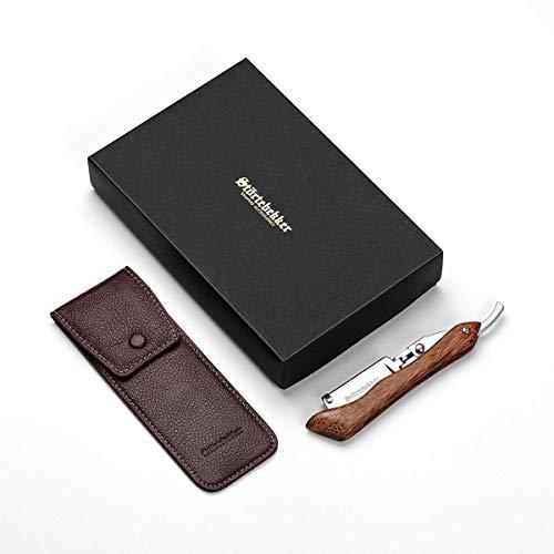 Störtebekker® Rasiermesser mit Holzgriff im handgefertigten Lederetui inkl. Alaunstift & Rasur-...