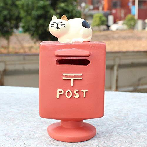 Blik munt rood porselein spaarpot decoratie huis ornament bank munt spaarpot decoratieve brievenbus katje